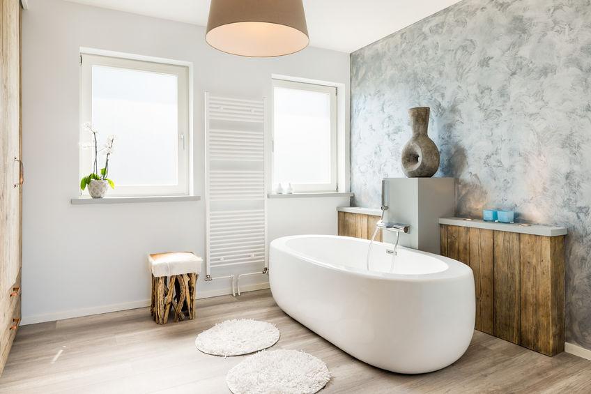 42834810 – modern bright bathroom with seperate bath