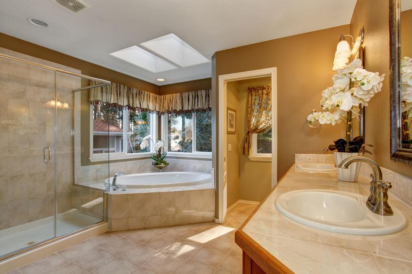 43014385 – large elegant master bathroom with shower, and big bath tub.