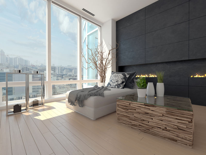 32227427 – modern design living room with cityscape view