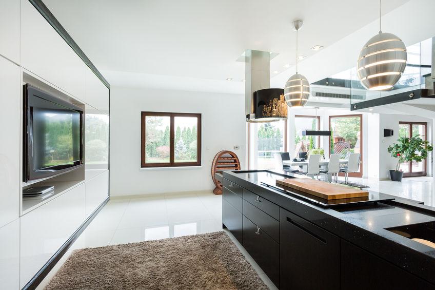 37790892 – modern elegant kitchen with home movie theater