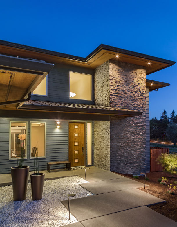 50557084 – new home exterior at night, vertical orientation